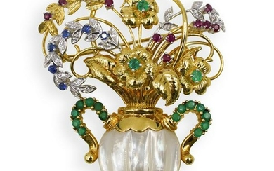 18k Gold and Precious Stone Floral Bouquet Brooch