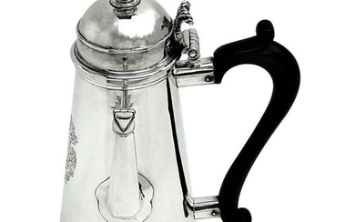 ANTIQUE GEORGE I STERLING SILVER COFFEE POT SIDE
