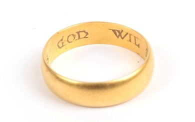 A Posy Ring, the plain polished band with block inscription...