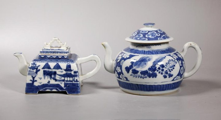 2 Chinese Qing Blue & White Porcelain Teapots
