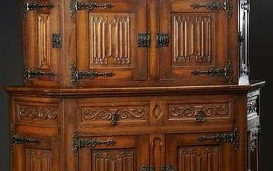 French Carved Oak Gothic Style Buffet a Deux Corps,