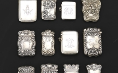 Collection of Antique Twelve Sterling Silver Match Safes, Including English and Gorham