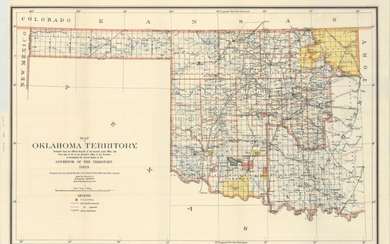 """""""Map of Oklahoma Territory. Compiled from the Official Records of the General Land Office and from Data on File in the Executive Office of the Territory..."""", General Land Office"""