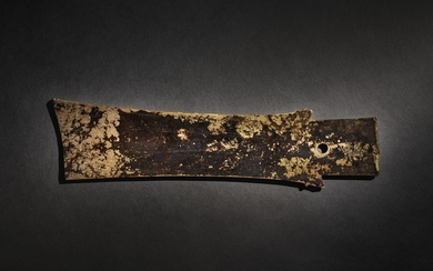A RARE ARCHAIC CALCIFIED JADE CEREMONIAL BLADE (ZHANG) NEOLITHIC PERIOD - SHANG DYNASTY
