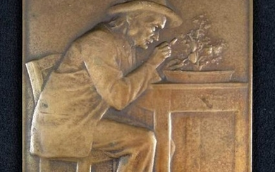 Rare Bronze Plaque The Entomologist by L Patriarche