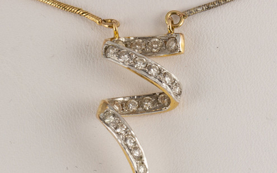 Diamond and 14k yellow and white gold necklace