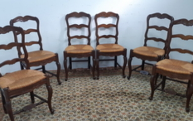 SET OF 6 CARVED WALNUT LOUIS XV STYLE RUSH SEAT CHAIRS