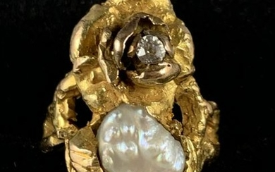 14K YLW GOLD PEARL AND DIAMOND NUGGET RING SZ 6