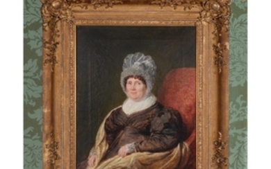 British School (19th century) Lady seated on a red chair