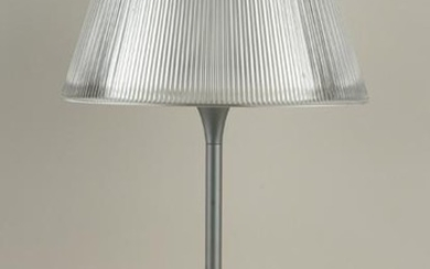 BRUSHED ALUMINUM AND GLASS TABLE LAMP C.1980