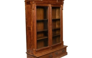 Eastlake Carved Oak Bookcase