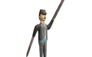 FINE AND RARE AMERICAN CARVED AND PAINTED PINE SOLDIER WHIRLIGIG, CIRCA 1890