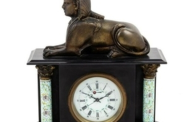 A Mantel Clock decorated with a sphinx. Hei
