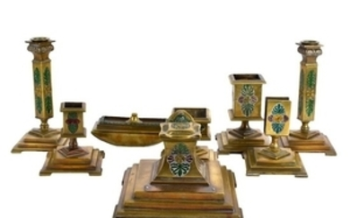 Russian Art Deco Signed Desk Set