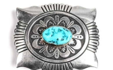 Tommy Singer (Dine, 1940-2014) Silver and Turquoise Belt Buckle
