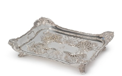 AN AMERICAN SILVER CHRYSANTHEMUM PATTERN ASPARAGUS DISH AND LINER, TIFFANY & CO., NEW YORK, CIRCA 1900