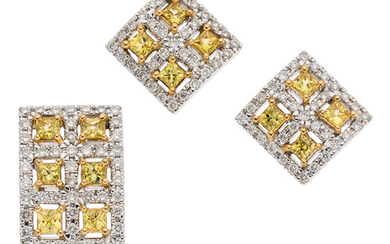 Yellow Sapphire, Diamond, White Gold Jewelry Suite The suite...