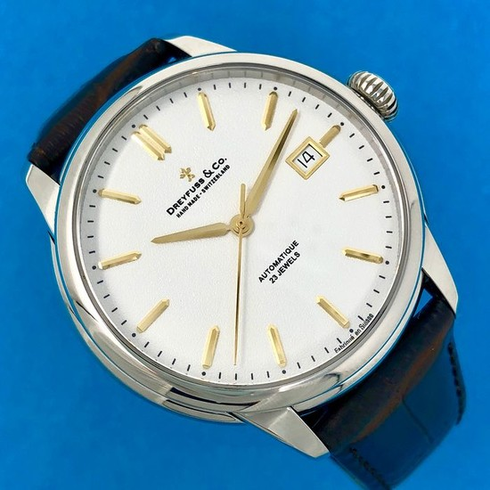 """Dreyfuss & Co. - 1925 Automatic Watch White Dial Brown leather strap Swiss Made- DGS00075/02 """"NO RESERVE PRICE"""" - Men - BRAND NEW"""