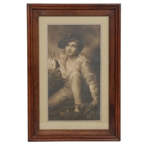 "Lithograph after Henry Raeburn ""Boy and Rabbit"""