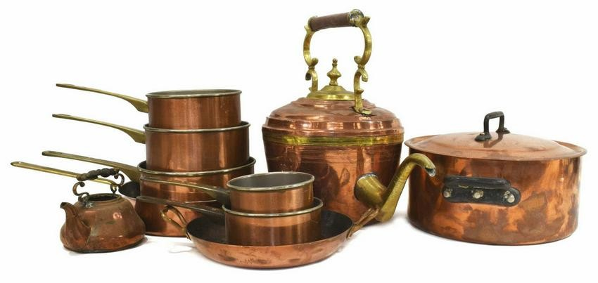 Lot Art 10 Collection Of French Copper Kitchen Items