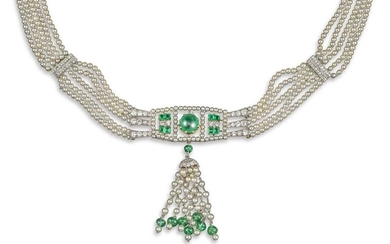 A cultured pearl, emerald and diamond necklace, th…