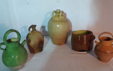 GROUP OF 5 FRENCH TERRA COTTA OIL AND WATER VESSELS