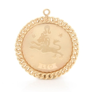 14K Yellow Gold Leo Pendant With Necklace
