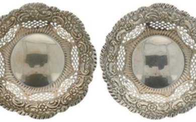 (2) Bonbon baskets rounded model with printed decorations and ajour openwork silver sides.