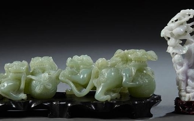Two Chinese Carved Jade Figural Groups, 20th c., one