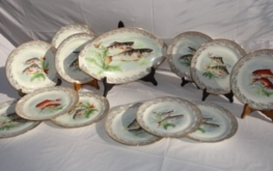 13 PC. FRENCH PORCELAIN GOLD BORDERED FISH SERVICE