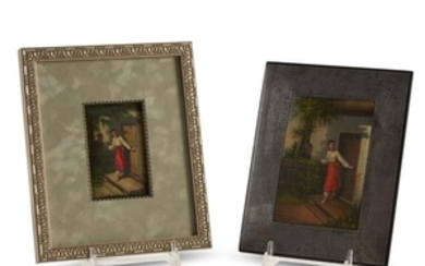 Two Russian lacquer plaques with identical scene late 19th/...