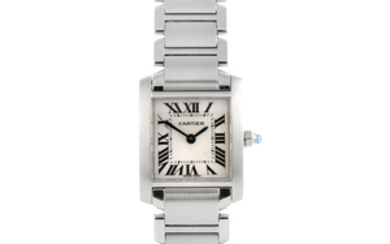 CARTIER - a stainless steel Tank Francaise bracelet watch.