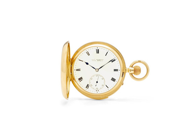 Chas. Frodsham, A fine 18K gold hunter cased minute repeating watch with free sprung lever escapement