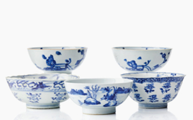 Five Chinese provincial blue and white bowls