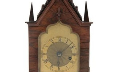 A Gothic Revival Brass Mounted Mantel Clock LA
