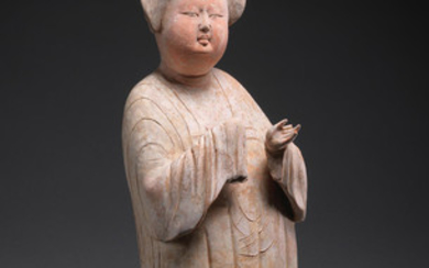 A large painted pottery figure of a court lady
