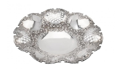 A late Victorian silver shaped circular dish by Elkington & Co.