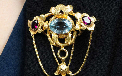 A mid 19th century 18ct gold aquamarine and garnet