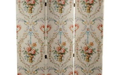 Upholstered Three Panel Floral Screen