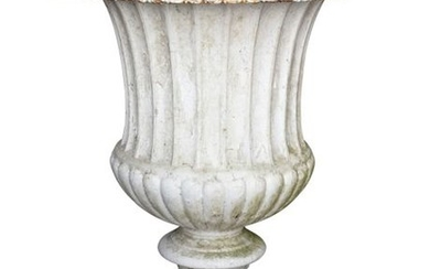 A PAIR OF WHITE PAINTED CAST IRON GARDEN URNS, 19T…