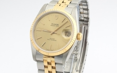 Gentlemen's Tudor Prince Gold and Stainless Steel Date Rotor Self-Winding Watch, Boxes and Papers