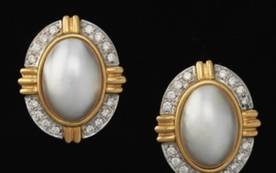 Ladies' Gold, Mabe Pearl and Diamond Pair of Earrings