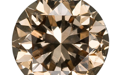 Unmounted Diamond The round brilliant-cut brown diamond measures 5.61...