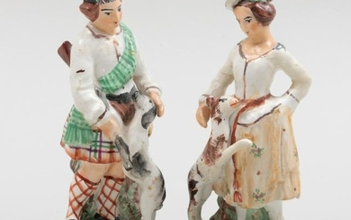 Pair of Staffordshire Figures of a Hunter and Companion