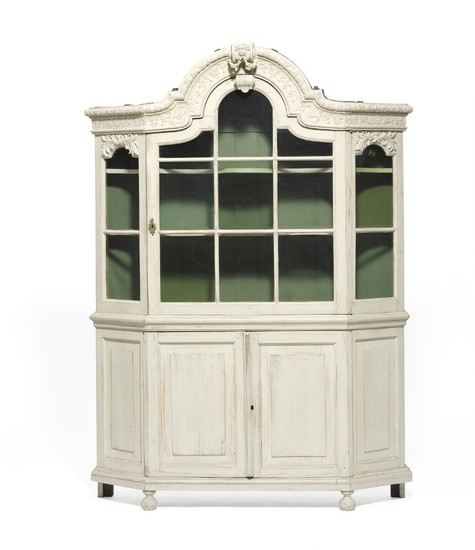 A French white painted oak vitrine cupboard. 19th century. H. 215 cm. W. 173 cm. D. 40 cm.