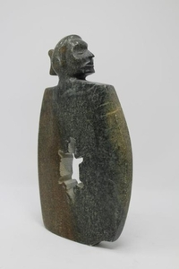 """Carved Stone """"Walking Bear"""" Sculpture"""