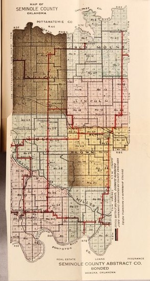 """Map of Seminole County Oklahoma [bound in] Moore's Seminole Roll and Land Guide"""