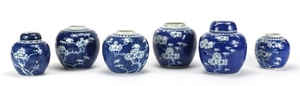 Six Chinese blue and white porcelain ginger jars, two with c...