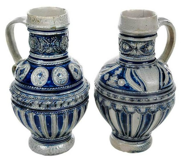 Two Westerwald Stoneware Cobalt Decorated Jugs