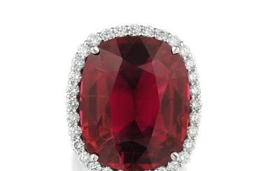 A 24.46-Carat Rubellite and Diamond Ring